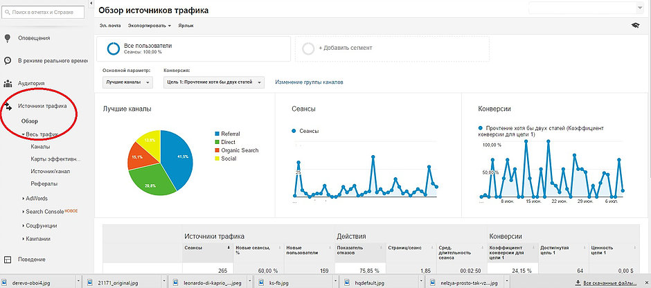 «Источники трафика» и нажимаете на графу «Обзор»